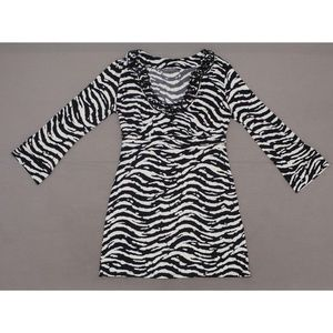INC Embellished Stretch Zebra Tunic Top Large